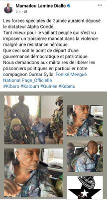 Coup d'Etat en Guinée: Mamadou Lamine DIALLO applaudit