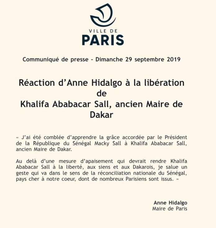 paris - Khalifa Sall : La mairie de Paris salue sa libération