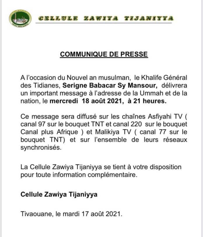 Tivaouane : une importante déclaration du Khalife des Tidianes attendue ce mercredi