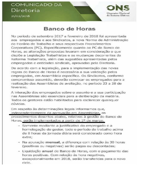 COMUNICADO ONS BANCO DE HORAS 1