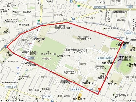 ●赤で囲った部分が武蔵製作所跡地
