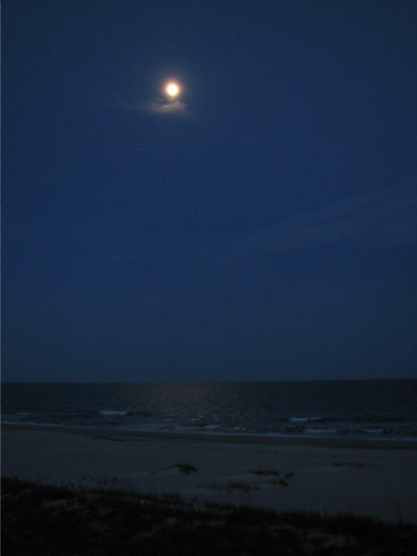 Moon over the ocean at Ocean Isle Beach, North Carolina.  May 6, 2009.