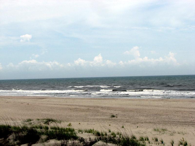The ocean and beach at Ocean Isle Beach, North Carolina.  May 5, 2009.