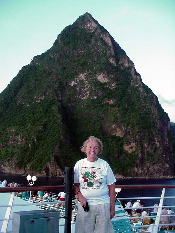 Betsy on board our ship with Gran Piton, St. Lucia, in the background.  September 13, 2001.