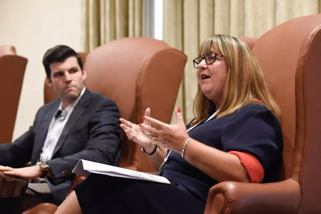 Senior Star CEO Anja Rogers speaks at the SHN Summit