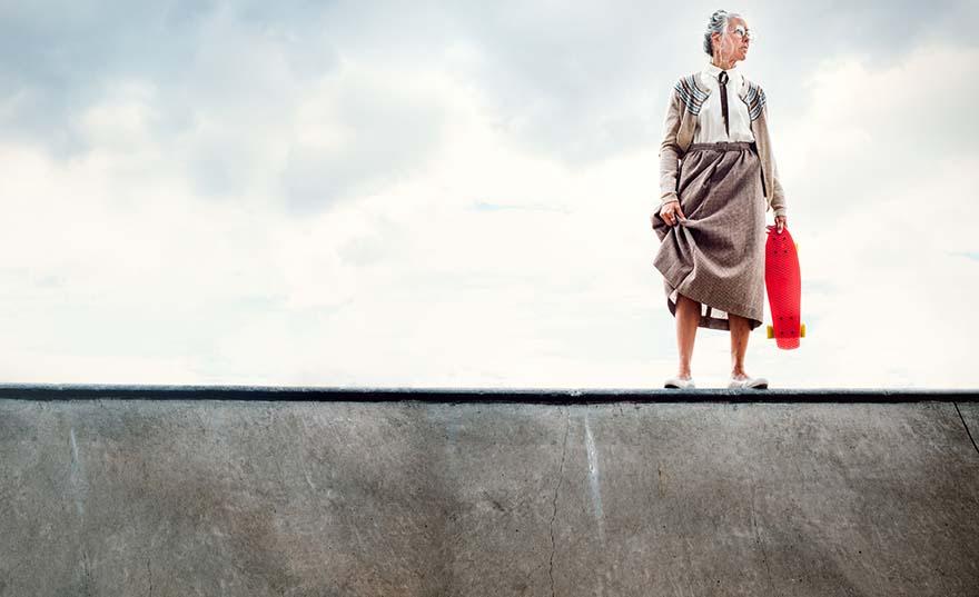 Old woman Skateboarding