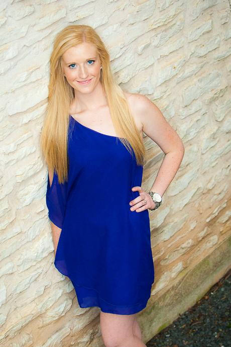 Blonde blue eyes blue dress