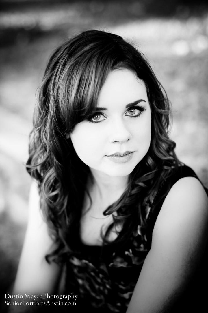 Black and white senior portraits photo teen female model dramatic