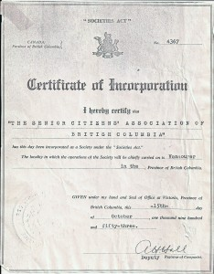 BC Senior Citizens Association Certificate of Incorporation