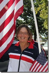 Carolyn with flags