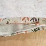 Lägg de stora styckena räta mot räta. Remsan med kedern placeras emellan med kedern inåt. Alla styckena kant i kant.