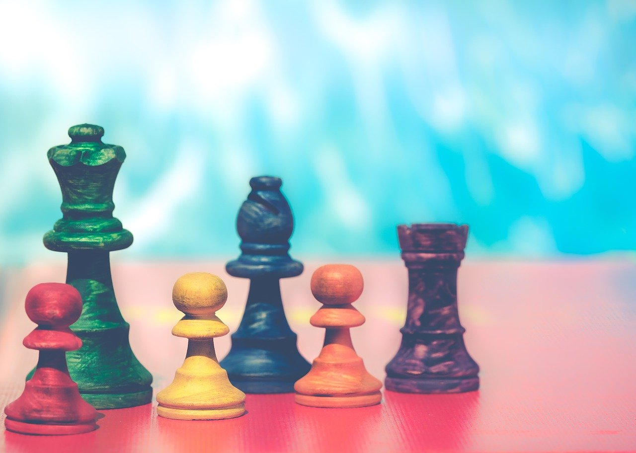 pawns, chess figures, colorful