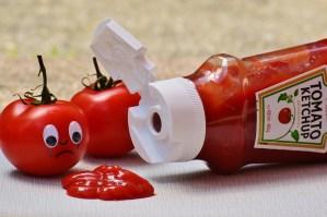 tomatoes, ketchup, sad