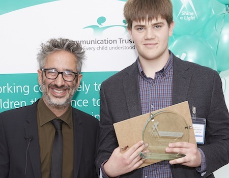 Young Person of the year Jonathan Middleditch with awards host David Baddiel.
