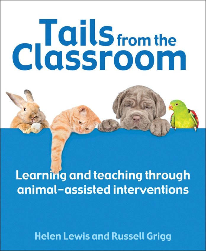 The cover of 'tails from the classroom', with a blue and white background and a bunny, cat, dog and parrot on it.