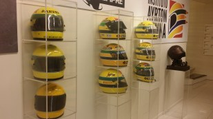 Nine Senna original helmets from all the years of his racing.