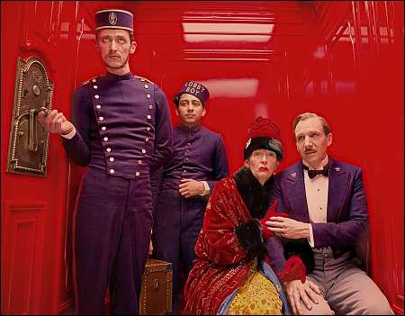 Paul Schlase, Toni Revolori, Tilda Swinton, Ralph Fiennes © 2013 Twentieth Century Fox