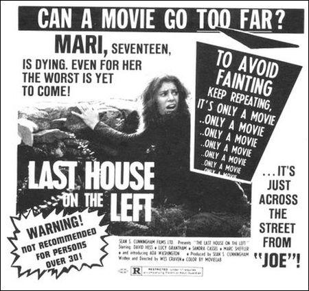 'Last House on the Left' einschlägigses Inserat aus den 70er Jahren