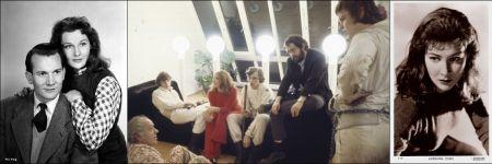 Adrienne Corri mit Denholm Elliott in 'Lease of Life' (1954), mit Crew und Stanley Kubrick 1970 auf dem Set zu 'A Clockwork Orange' und in einem Publicity Still der Rank Organisation