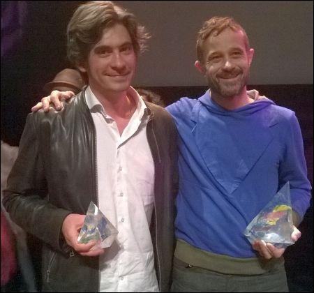 Claude Barras und Max Karli (Rita Prod.) nach der Preisverleihung mit den Trophäen