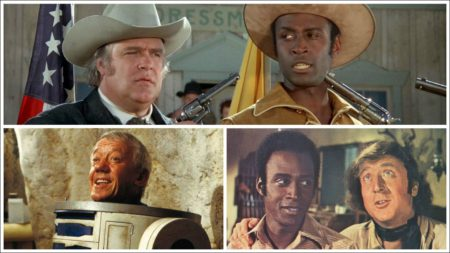 David Huddleston und Cleavon Little (gest. 1992) in 'Blazing Saddles', Cleavon Little und Gene Wilder in 'Blazing Saddles' und Kenny Baker in R2D2
