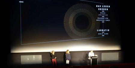 Corine Mauch (Stadtpräsidentin Zürich), Eva Vitija, Doris Senn (Laudatio) © sennhauser
