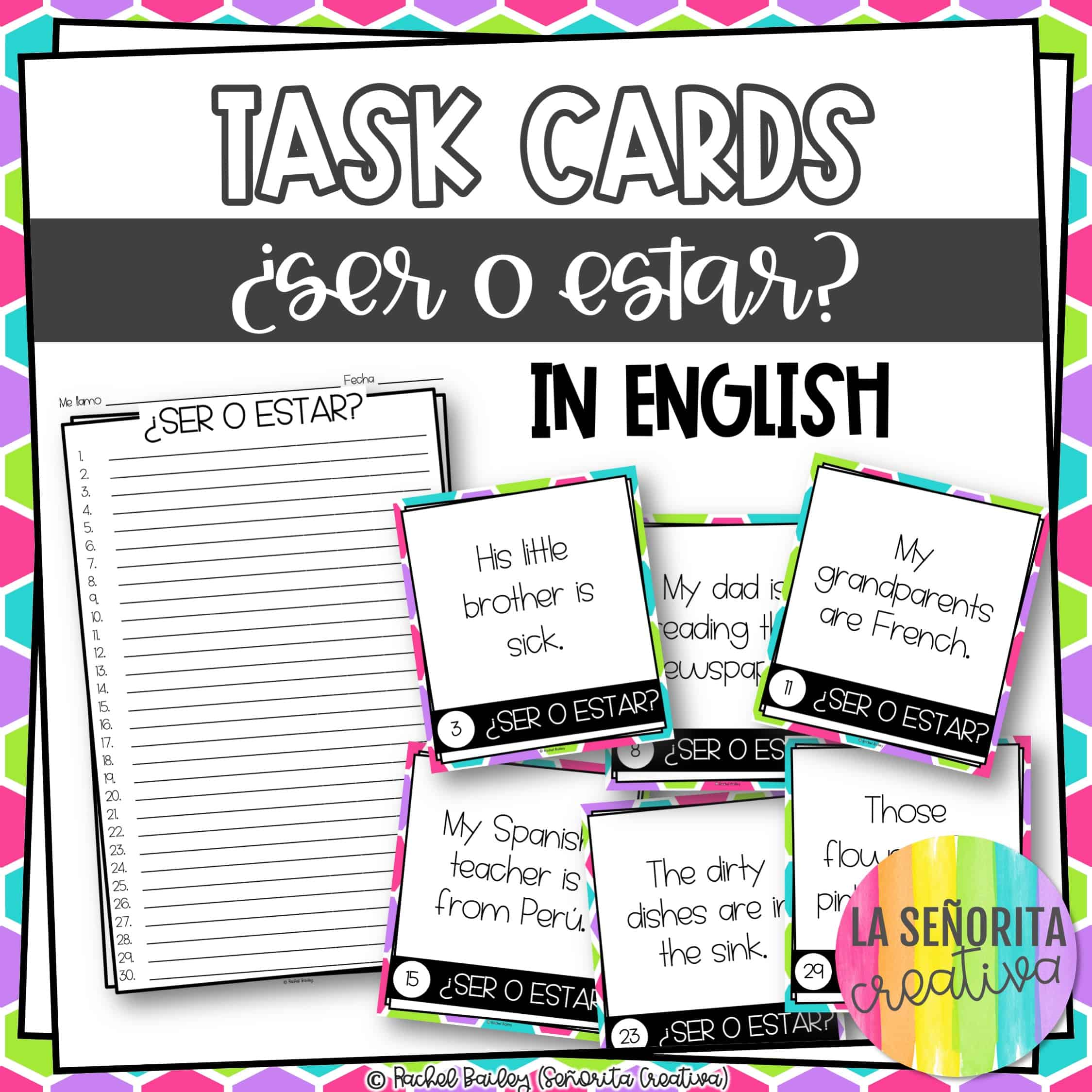 Ser Vs Estar In English Task Card Activity And Worksheet
