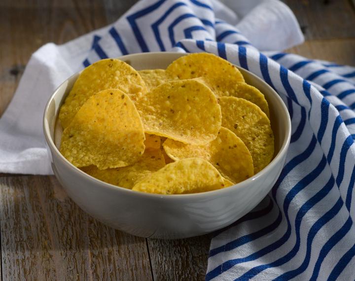 round corn tortillas chips