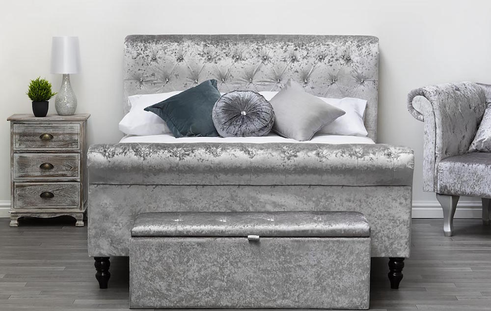 Torquay Diamante Crystal Silver Fabric Bed Frame