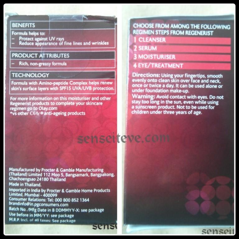 Olay Regenerist Revitalising Hydration Cream Moisturiser SPF15 Product description