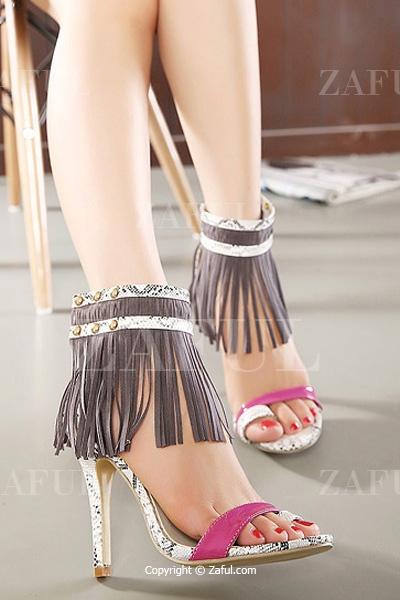Fringe Snake Print Stiletto Heel Sandals