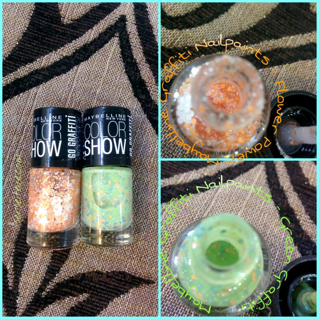 Maybelline Graffiti Nailpaints - Green Graffiti & Flower Power closeup