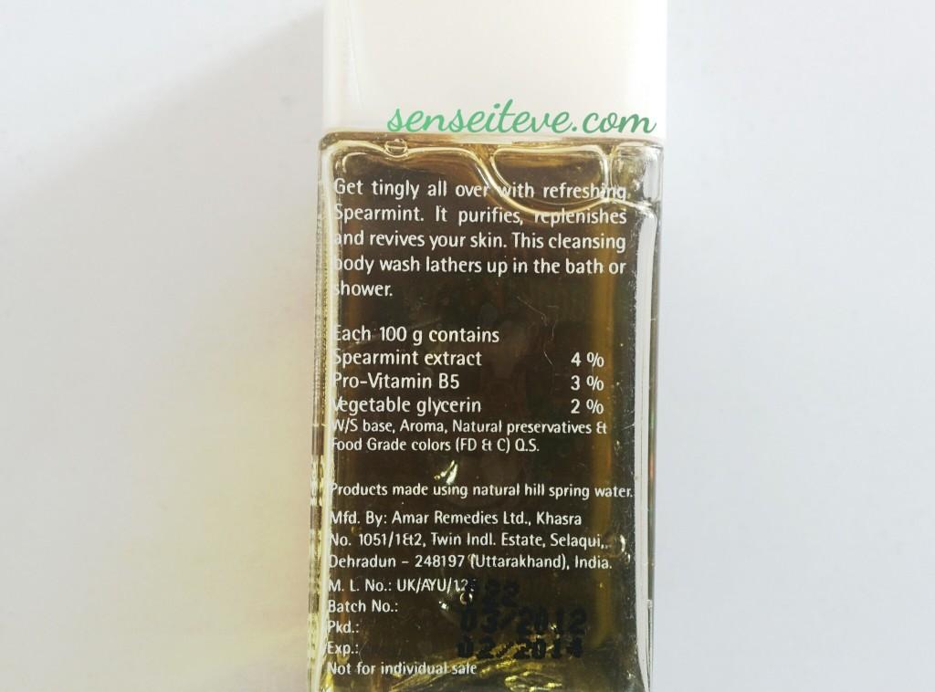 The Nature's Co Spearmint Body wash Product Desc