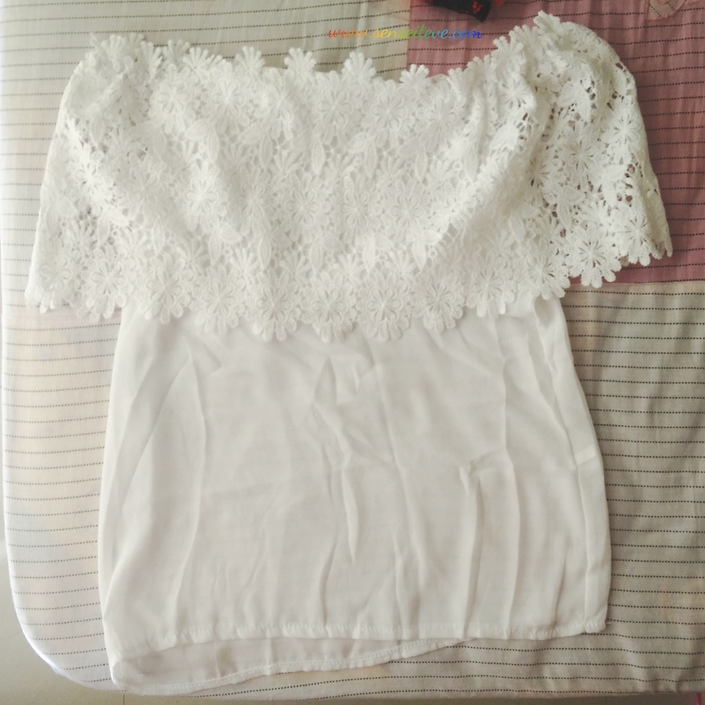 Off Shoulder Lace Splicing Chiffon Patchwork Top