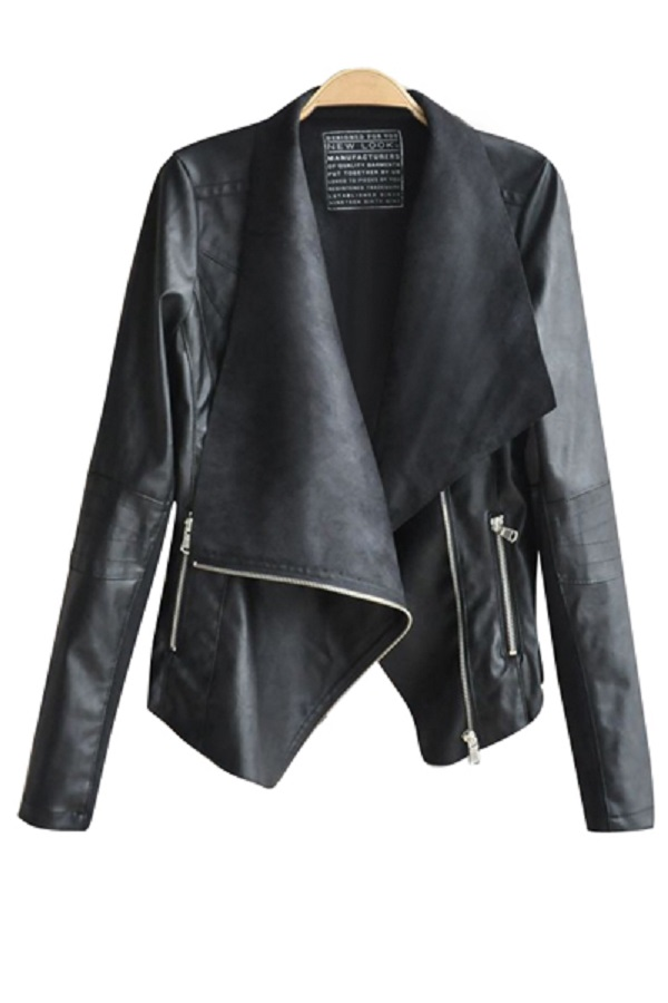 Zaful Turn-Down Collar Black PU Leather Jacket
