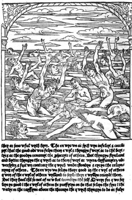 Part of the description of Hell's punishment of the envious from the 1503 Paris edition of The Kalendayr of Shyppars.