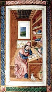 Petrarch working in study with dog (possibly Zabot)