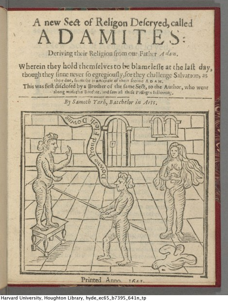 Title page of A new Sect of Religion Descryed Called the Adamites. (1641).