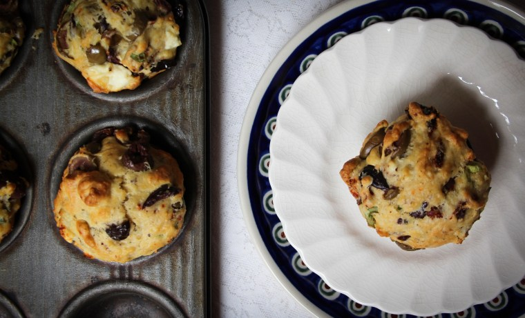 Sun-Dried Tomatoes, Olives, Feta Savory Muffins