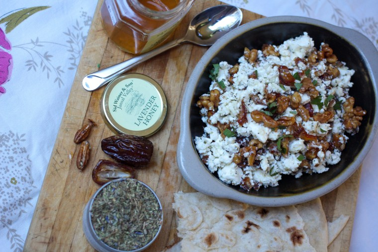 Feta Dip with Dates and Honey-Candied Walnuts