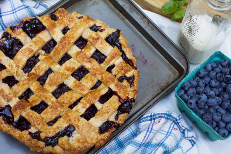 Blueberry Pie with Basil Whipped Cream