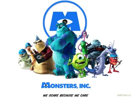 A Movie Poster For Monsters Inc With The Text 'We Scare Because We Care'