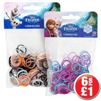 Picture Of Two Packets Of Loom Bands From The Movie Frozen