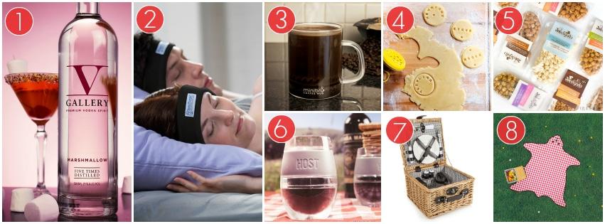 Marshmallow Vodka Bottle, Sleepphones, A Minibru Mug, A Customisable Cookie Cutter, Gourmet Popcorn Packets, A Tumbler Type Wine Glass, A Picnic Hamper, A Plaid Bear Shaped Picnic Basket