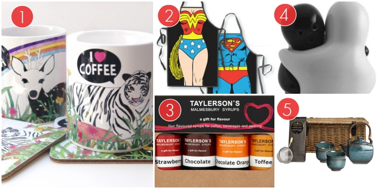 Matching Animal Mugs For Coffee And Tea, A Superman And Superwoman Apron Set, Hugging Black And White Salt Shakers, Flavoured Coffee Shots And An Oriental Tea Set