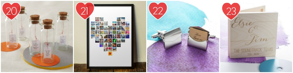 Messages In Bottles, A Heart Print Made Of Instagram Pictures, Cufflinks With Messages Inside, A Personalised Soundtrack Trinket Box