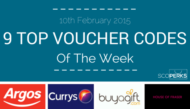 Logos For Argos, Currys, BuyAGift And House Of Fraser With The Text '9 TOP VOUCHER CODES Of The Week (10th February 2015)