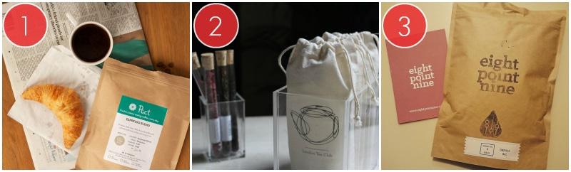 Pact Coffee Box, A London Tea Club Box And A Eight Point Nine Box