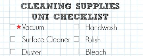 A Cropped Checklist Of Cleaning Supplies You Need To Take With Your University Essentials