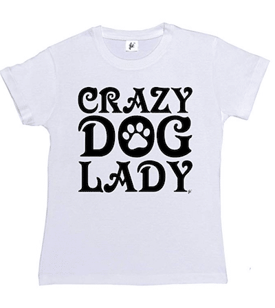 Crazy Dog Lady Woof Paw Print Womens T-Shirt